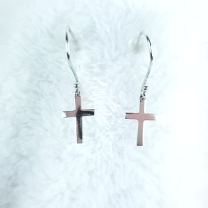 Sterling 925 JTS Dainty Cross Earrings